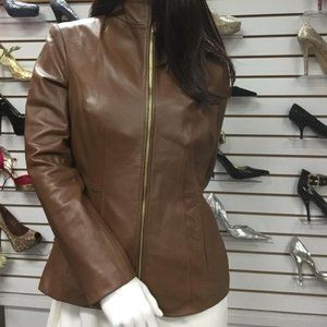 BNWT Cole Haan Wing Collar,Genuine Leather Jacket,